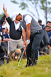 28 August 2009: Tiger Woods hits out of the rough during the second round of The Barclays PGA Playoffs at Liberty National Golf Course in Jersey City, New Jersey.
