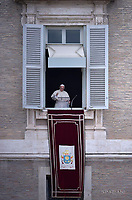 Pope Francis  from the window of the apostolic palace overlooking St.Peter's square during his Angelus prayer  at the Vatican.June 29, 2017