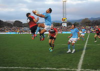 Julian Savea goes up for a high ball during the rugby union match between Canterbury and the All Blacks at Hutt Recreation Ground, Wellington, New Zealand on Friday, 9 August 2013. Photo: Dave Lintott / lintottphoto.co.nz