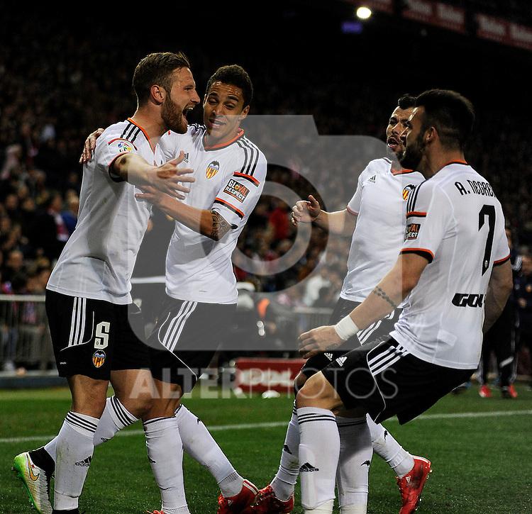 Valencia CF´s players celebrates a goal during 2014-15 La Liga match between Atletico de Madrid and Valencia CF at Vicente Calderon stadium in Madrid, Spain. March 08, 2015. (ALTERPHOTOS/Luis Fernandez)