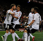 Valencia CF´s players celebrates a goal during 2014-15 La Liga match between Atletico de Madrid and Valencia CF at Vicente Calderon stadium in Madrid, Spain. March 08, 2015. (ALTERPHOTOS/Luis Fernandez)