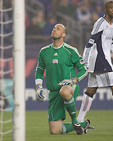 Frustrated New England Revolution goalkeeper Preston Burpo (24) after SL Benfica scores third goal in first half. SL Benfica  defeated New England Revolution, 4-0, at Gillette Stadium on May 19, 2010.