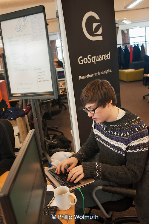 GoSquared, a real -time web analytics start-up founded by three schoolfriends in 2006, at the age of 15.  Its shared workspace in Clerkenwell, London, is close to the area known as Silicon Roundabout, which is undergoing gentrification as it becomes a centre for web-based companies and IT start-ups.