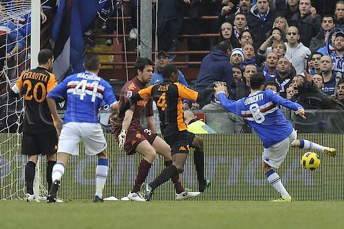 06 01 2011 Genova Series A Sampdoria versus Roma  Photo shows the goal scored by  Stefano Guberti