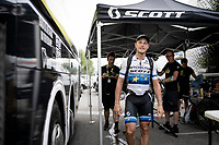 European Champion Matteo Trentin (ITA/Mitchelton-Scott) wins stage 17, the 4th stage win by his Mitchelton-Scott team & is celebrated as he returns to the team hotel<br /> <br /> Stage 17: Pont du Gard to Gap (206km)<br /> 106th Tour de France 2019 (2.UWT)<br /> <br /> ©kramon