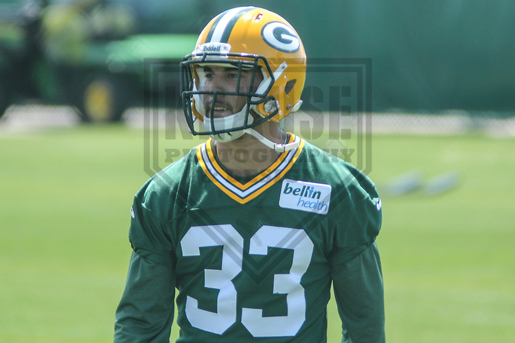GREEN BAY - May 2013: Micah Hyde (33) of the Green Bay Packers during an Organized Team Activity on May 21, 2013 at Clark Hinkle Field in Green Bay, Wisconsin. (Photo by Brad Krause)..