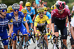 The peloton including Yellow Jersey Julian Alaphilippe (FRA) and Enric Mas (ESP) Deceuninck-Quick Step climb during Stage 19 of the 2019 Tour de France originally running 126.5km from Saint-Jean-de-Maurienne to Tignes but cut short to 88.5 km due to heavy hailstorms, France. 26th July 2019.<br /> Picture: ASO/Alex Broadway | Cyclefile<br /> All photos usage must carry mandatory copyright credit (© Cyclefile | ASO/Alex Broadway)