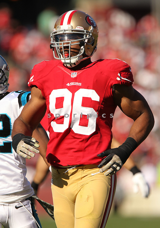 San Francisco 49ers Corey Lemonier (96) during a game against the Carolina Panthers on November 10, 2013 at Candlestick Stadium in San Francisco, CA. The Panthers beat the 49ers 10-9.