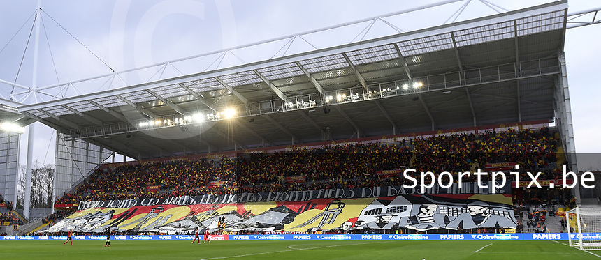 20191221 - LENS , FRANCE : illustration picture shows the tifo in the Trannin tribune pictured during the soccer match between Racing Club de LENS and Niort , on the 19 th matchday in the French Ligue 2 at the Stade Bollaert Delelis stadium , Lens . Saturday 21 December 2019. PHOTO DIRK VUYLSTEKE | SPORTPIX.BE
