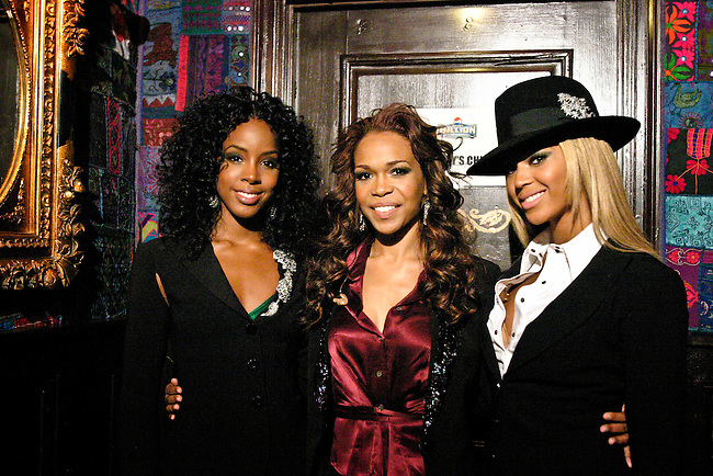 Beyonce Knowles, Kelly Rowland and Michelle Williams of Destiny's Child moments before performing in their 'Lose My Breath' music video for ABC and Pepsi's 'Play For A Billion' television game show.