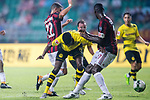Borussia Dortmund Forward Alexander Isak (C) fights for the ball with AC Milan Defender Cristian Zapata (R) during the International Champions Cup 2017 match between AC Milan vs Borussia Dortmund at University Town Sports Centre Stadium on July 18, 2017 in Guangzhou, China. Photo by Marcio Rodrigo Machado / Power Sport Images