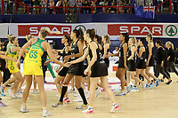 JOHANNESBURG, SOUTH AFRICA - JANUARY 28: The Siver Ferns and the Diamonds shake hands before the Netball Quad Series netball match between Diamonds and Silver Ferns at the Ellis Park Arena in Johannesburg. Mandatory Photo Credit: ©Reg Caldecott/Michael Bradley Photography