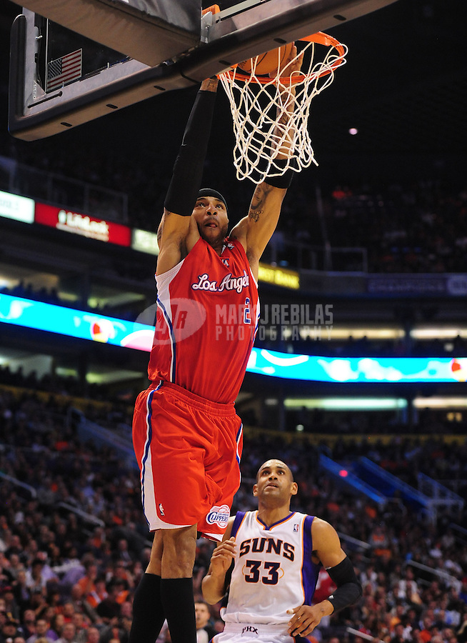 Mar. 2, 2012; Phoenix, AZ, USA; Los Angeles Clippers forward Kenyon Martin goes up for a dunk during game against the Phoenix Suns at the US Airways Center. The Suns defeated the Clippers 81-78. Mandatory Credit: Mark J. Rebilas-USA TODAY Sports