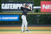Bruce Steel (17) of the Wake Forest Demon Deacons signals to his bench after hitting a double against the West Virginia Mountaineers in Game Six of the Winston-Salem Regional in the 2017 College World Series at David F. Couch Ballpark on June 4, 2017 in Winston-Salem, North Carolina.  The Demon Deacons defeated the Mountaineers 12-8.  (Brian Westerholt/Four Seam Images)