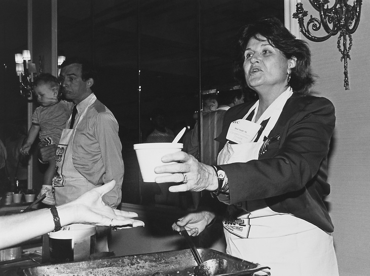 Rep. Louise Slaughter, D-N.Y., serves a sample of her Chili (vegetarian), on Sep. 16, 1991. (Photo by Laura Patterson/CQ Roll Call via Getty Images)