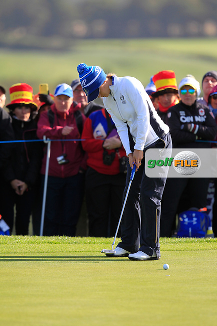 Azahara Munoz of Team Europe on the 7th green during Day 1 Foursomes at the Solheim Cup 2019, Gleneagles Golf CLub, Auchterarder, Perthshire, Scotland. 13/09/2019.<br /> Picture Thos Caffrey / Golffile.ie<br /> <br /> All photo usage must carry mandatory copyright credit (© Golffile | Thos Caffrey)