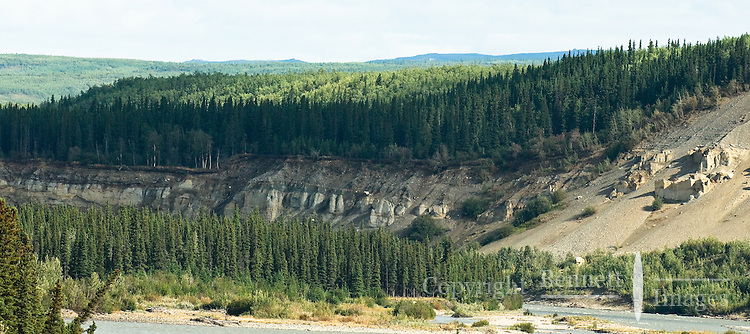 A view of Nenana River bluffs from the train.