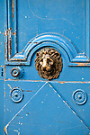 Blue door in the historic district of Le Marais