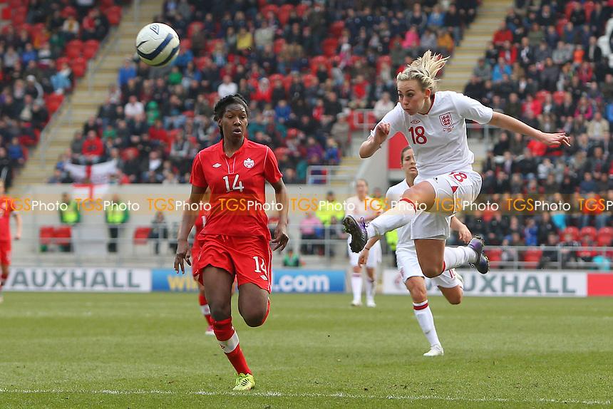 Toni Duggan goes close to a goal for England - England Women vs Canada Women - International Football Friendly Match at the New York Stadium, Rotherham United FC - 07/04/13 - MANDATORY CREDIT: Gavin Ellis/TGSPHOTO - Self billing applies where appropriate - 0845 094 6026 - contact@tgsphoto.co.uk - NO UNPAID USE.