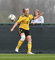20190403  - Tubize , BELGIUM : Belgian Ella Vierendeels  pictured during the soccer match between the women under 19 teams of Belgium and Switzerland , on the first matchday in group 2 of the UEFA Women Under19 Elite rounds in Tubize , Belgium. Wednesday 3 th April 2019 . PHOTO DIRK VUYLSTEKE / Sportpix.be