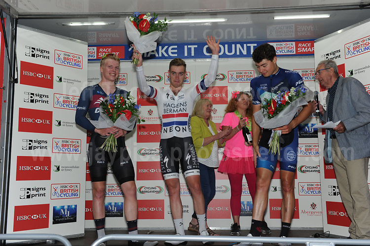 The 2017 Abergavenny Festival of Cycling on Friday 7th July 2017 - <br /> <br /> 1st place - Christopher Lawless - Axeon Hagens Berman CT(c)<br /> 2nd place - Matthew Gibson - JLT Condor(L)<br /> 3rd place - Harry Tanfield - BIKE Channell Canyon(r)<br /> <br /> <br /> Jeff Thomas Photography<br /> www.jaypics.photoshelter.com<br /> e-mail swansea1001@hotmail.co.uk<br /> Mob: 07837 386244