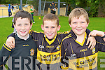 Padraig Hillard, Gearoid Coffey and Darragh Kelly on the ball at the Currow GAA funday on Sunday..