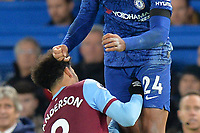 Felipe Anderson jumps with Reece James Of Chelsea FC during Chelsea vs West Ham United, Premier League Football at Stamford Bridge on 30th November 2019