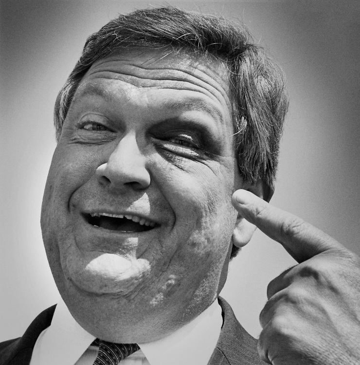 """Close-up of Rep. John William """"Jack"""" Buechner, R-MO., House of Representatives Member. April 30, 1990 (Photo by CQ Roll Call)"""