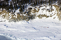 Ramy Brooks runs on jumbled sea ice just outside of Elim on Tuesday afternoon