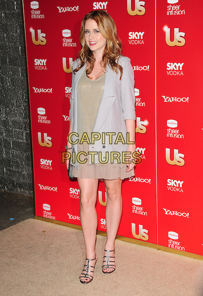 JENNA FISCHER.US Weekly's Hot Hollywood Party 2009 held at Voyeur, West Hollywood, California, USA. .November 18th, 2009.full length jacket gold beige dress gold layers layered clutch bag grey gray.CAP/RKE/DVS.©DVS/RockinExposures/Capital Pictures.