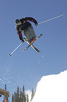 A skier in the halfpipe at Durango Mountain Resort in January, 2003.