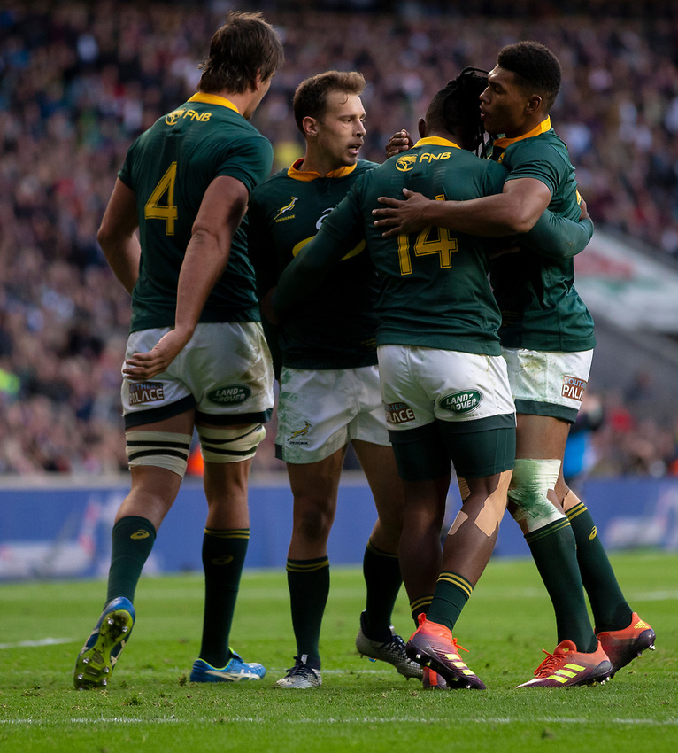 South Africa's Sibusiso Nkosi celebrates scoring his sides first try with team mates<br /> <br /> Photographer Bob Bradford/CameraSport<br /> <br /> Quilter Internationals - England v South Africa - Saturday 3rd November 2018 - Twickenham Stadium - London<br /> <br /> World Copyright © 2018 CameraSport. All rights reserved. 43 Linden Ave. Countesthorpe. Leicester. England. LE8 5PG - Tel: +44 (0) 116 277 4147 - admin@camerasport.com - www.camerasport.com