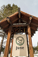Entrance to the June Mountain Ski Area, June Lake, California. March 2014.