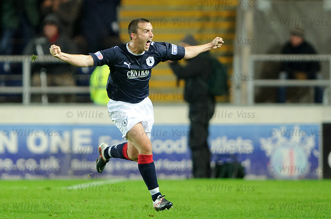 Mark Millar celebrates his last gasp winner for Falkirk