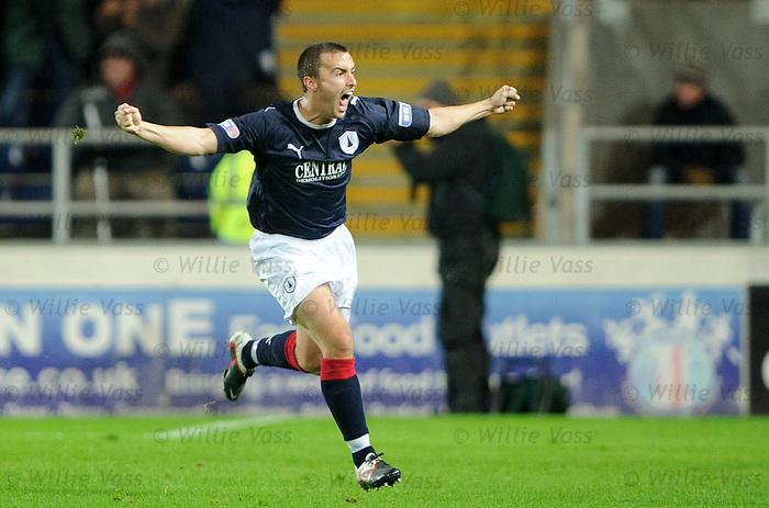 Mark Millar celebrates his last gasp winner for Falkirk