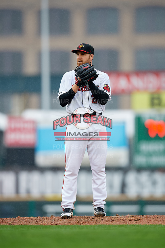 Rochester Red Wings starting pitcher Dietrich Enns (23) gets ready to deliver a pitch during a game against the Scranton/Wilkes-Barre RailRiders on June 24, 2018 at Frontier Field in Rochester, New York.  The game was suspended in the fourth inning due to inclement weather.  (Mike Janes/Four Seam Images)
