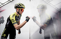 Simon Yates (GBR/Mitchelton-Scott) & his 'twin' signing on<br /> <br /> Stage 17: Commezzadura (Val di Sole) to Anterselva/Antholz (181km)<br /> 102nd Giro d'Italia 2019<br /> <br /> ©kramon