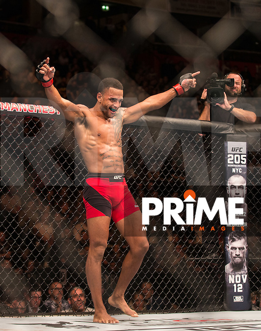 Danny 'Hot Chocolate' Roberts – UFC welterweight starts the 3rd with arms raised during the UFC 204 - Manchester match between Danny 'Hot Chocolate' Roberts and Mike 'Platinum' Perry at Manchester Arena , Hunts Bank, England on 9 October 2016. Photo by Andy Rowland.