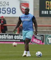 Adebayo Akinfenwa of Wycombe Wanderers warms up ahead of the Sky Bet League 2 match between Morecambe and Wycombe Wanderers at the Globe Arena, Morecambe, England on 29 April 2017. Photo by Stephen Gaunt / PRiME Media Images.
