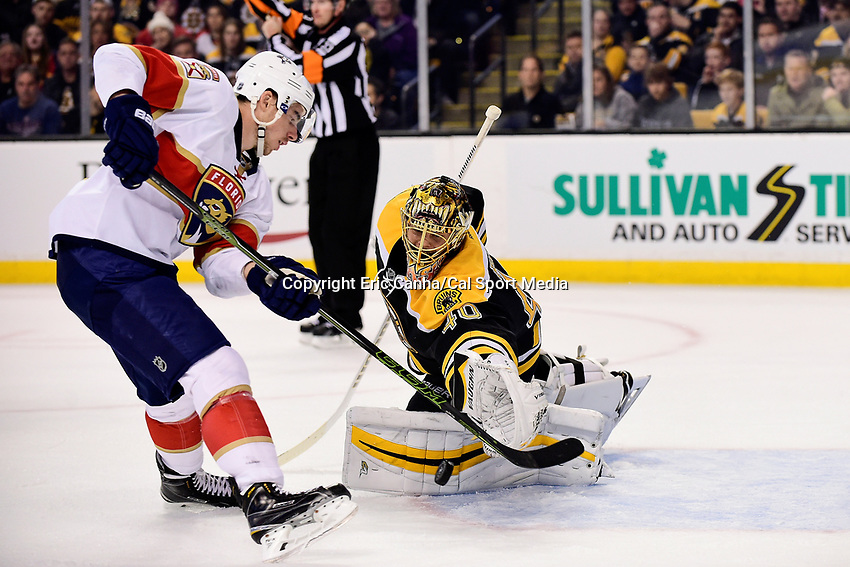 Monday, December 5, 2016: Boston Bruins goalie Tuukka Rask (40) stops a shot from Florida Panthers right wing Reilly Smith (18) during the National Hockey League game between the Florida Panthers and the Boston Bruins held at TD Garden, in Boston, Mass. Eric Canha/CSM