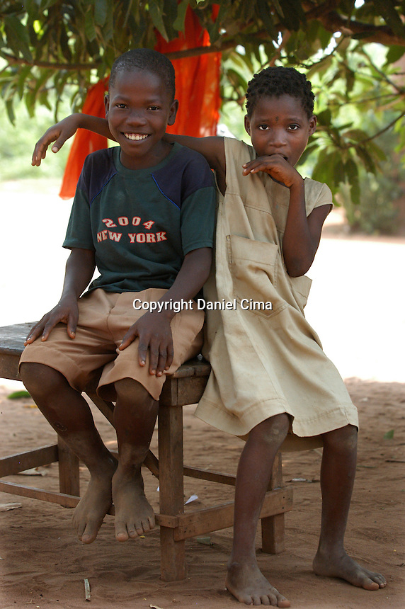 Education in Benin is free for primary school children, ages 6 to 11 years. The language of instruction in all Beninese schools is French. Only half of the children who begin in first grade will complete primary school. Many children have to walk long distances to attend school,.About 34% of children attend primary school in rural areas, compared to 61% in urban areas.Less than 50% of school-age children in primary schools, in rural parts of the country, finish school . A lot of these children not attending school are forced into farm and.domestic labor and also trafficked for sexual expoitation..The children in these photos were all attending school.