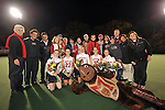 The 2008 Terrapin senior class (Left to Right) #7 Emma Thomas, #22 Sarah Scholl, #6 Susie Rowe, #15 Ellen Ott, and #11 Danielle Keeley pose for a group photo with their friends and family and the Terrapin coaching staff before Maryland's 10-0 win over VCU at the Field Hockey and Lacrosse Complex in College Park MD on October 30, 2008.  Christopher Blunck/UMTerps.com.