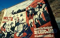 Milano 1980.Murales realizzato in via Mancinelli per ricordare l'assassinio di Fausto e Iaio, giovani di sinistra che frequentavano il CS Leoncavallo impegnati nella lotta contro lo spaccio di eroina nel quartiere Casoretto. .Foto Livio Senigalliesi