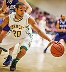 4 February 2014: University of Vermont Catamount Guard Dre Wills, a Freshman from Indianapolis, IN, in action against the University of Maine Black Bears at Patrick Gymnasium in Burlington, Vermont. The Cats defeated the Bears 93-65 improving to 9-1 in America East and 15-9 overall. Mandatory Credit: Ed Wolfstein Photo *** RAW (NEF) Image File Available ***
