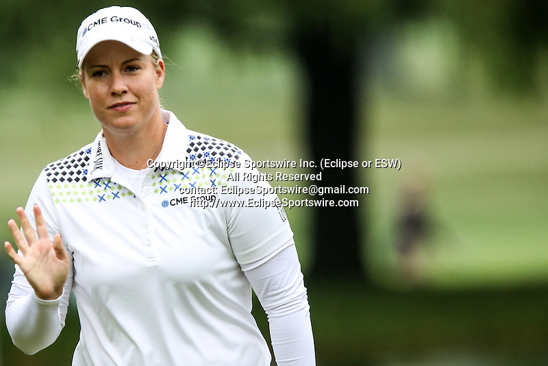 American Brittany Lincicome acknowledged the crowd on the second hole at the LPGA Championship at Locust Hill Country Club in Pittsford, NY on June 7, 2013
