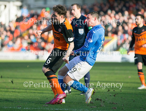 Dundee United v St Johnstone.....21.02.15<br /> Michael O'Halloran scores saints first goal<br /> Picture by Graeme Hart.<br /> Copyright Perthshire Picture Agency<br /> Tel: 01738 623350  Mobile: 07990 594431