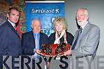 Brenda Fricker(actor) who was presented with the Maureen O'Hara prize by Jim Sheridan at the Samhai?ocht Kerry Film Festival award ceremony in Fels Point Hotel, Tralee, l-r: Jason O'Mahony, Jim Sheridan, Brenda Fricker and John Kennedy............................ ..............................   Copyright Kerry's Eye 2008