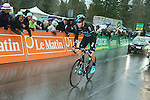 Chris Froome (GBR) Team Sky makes a solo break on the final climb of Stage 4 of the 2016 Tour de Romandie, running 173.2km from Conthey to Villars, Switzerland. 30th April 2016.<br /> Picture: Heinz Zwicky | Newsfile<br /> <br /> <br /> All photos usage must carry mandatory copyright credit (© Newsfile | Heinz Zwicky)