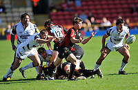 Aviva Premiership Rugby Saracens v Sale Sharks from Vicarage Road, Watford, England. 11th September 2010. Richard Wigglesworth of Saracens clears the ball. Saracens win the game 28-13.