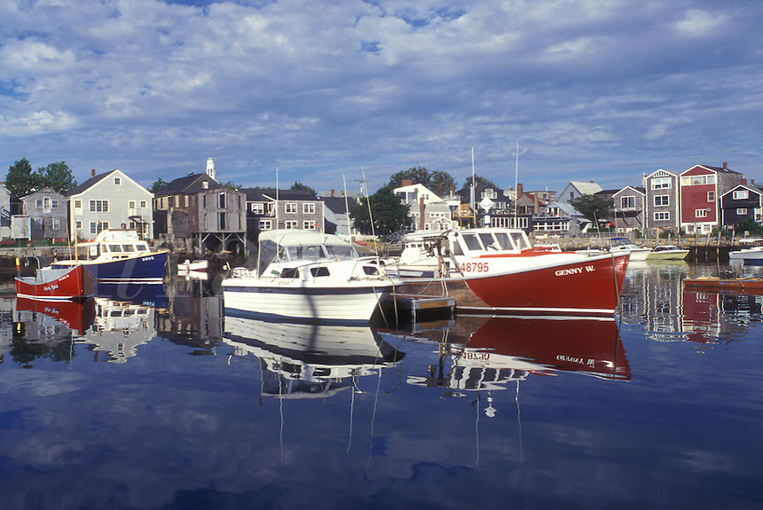 Rockport, Massachusetts, boats, Atlantic Ocean, (Fishing, lobster) boats are buoyed in the harbor.